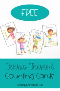 Free Printable Tennis Pom-pom Counting Mats | HoliayPrintables.net #printables #tennis #tennisday #tennisprintables #printablesforkids #weloveprintables #holidayprintables