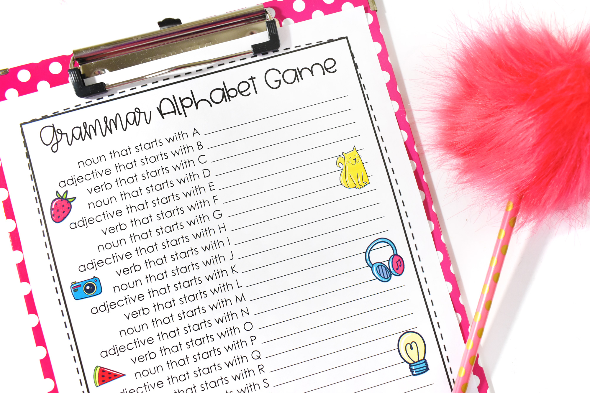 National Grammar Day Printable Game | HolidayPrintables.net #printables #grammar #printablegrammar #grammargame #alphabetgame #holidayprintables #weloveprintables