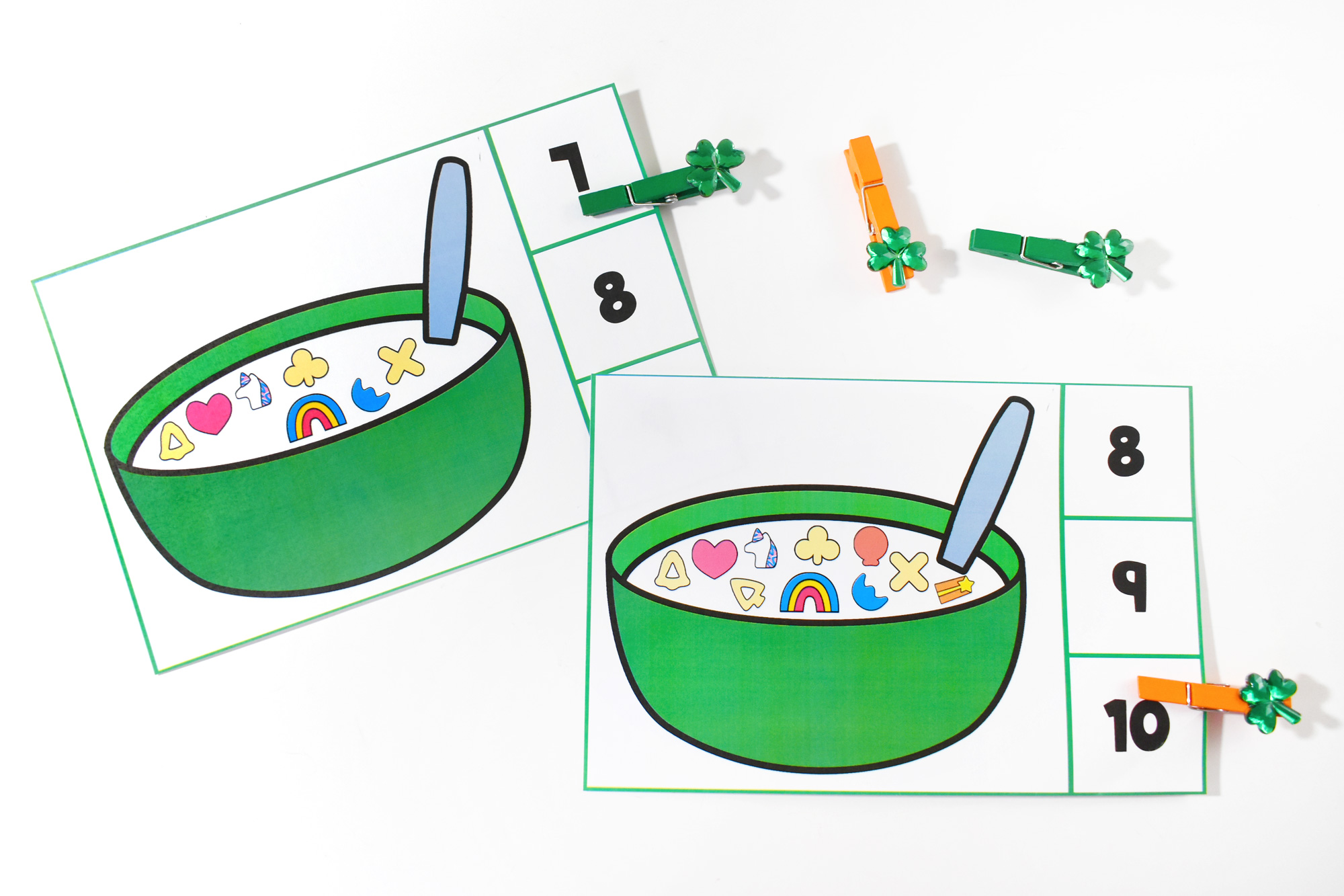 Cereal Count and Clip Cards Free Printable | HolidayPrintables.net #printables #cereal #holidayprintables #weloveprinables #printableforkids