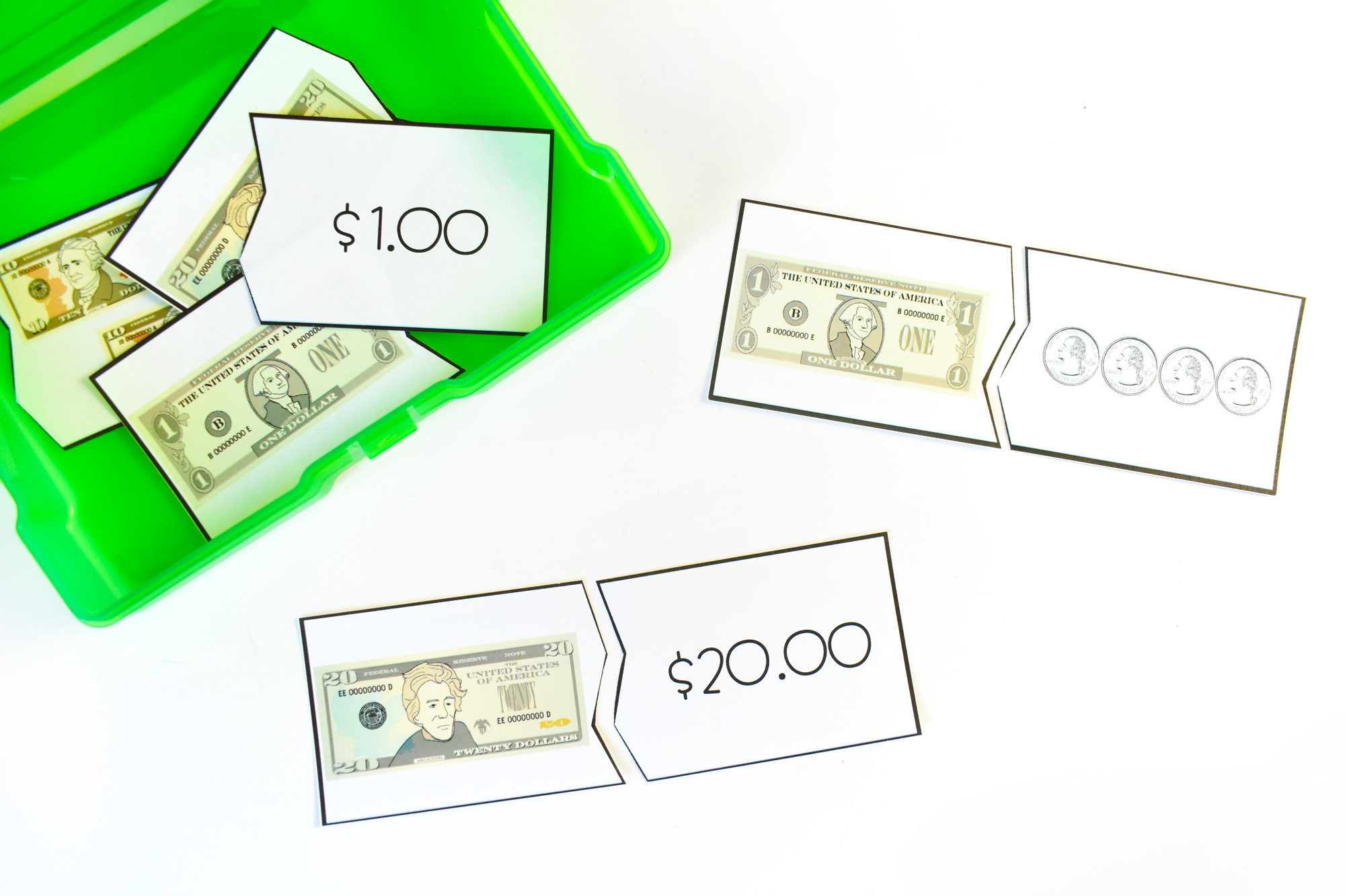 National Paper Money Day Paper Money 2-part Puzzles   HolidayPrintables.net