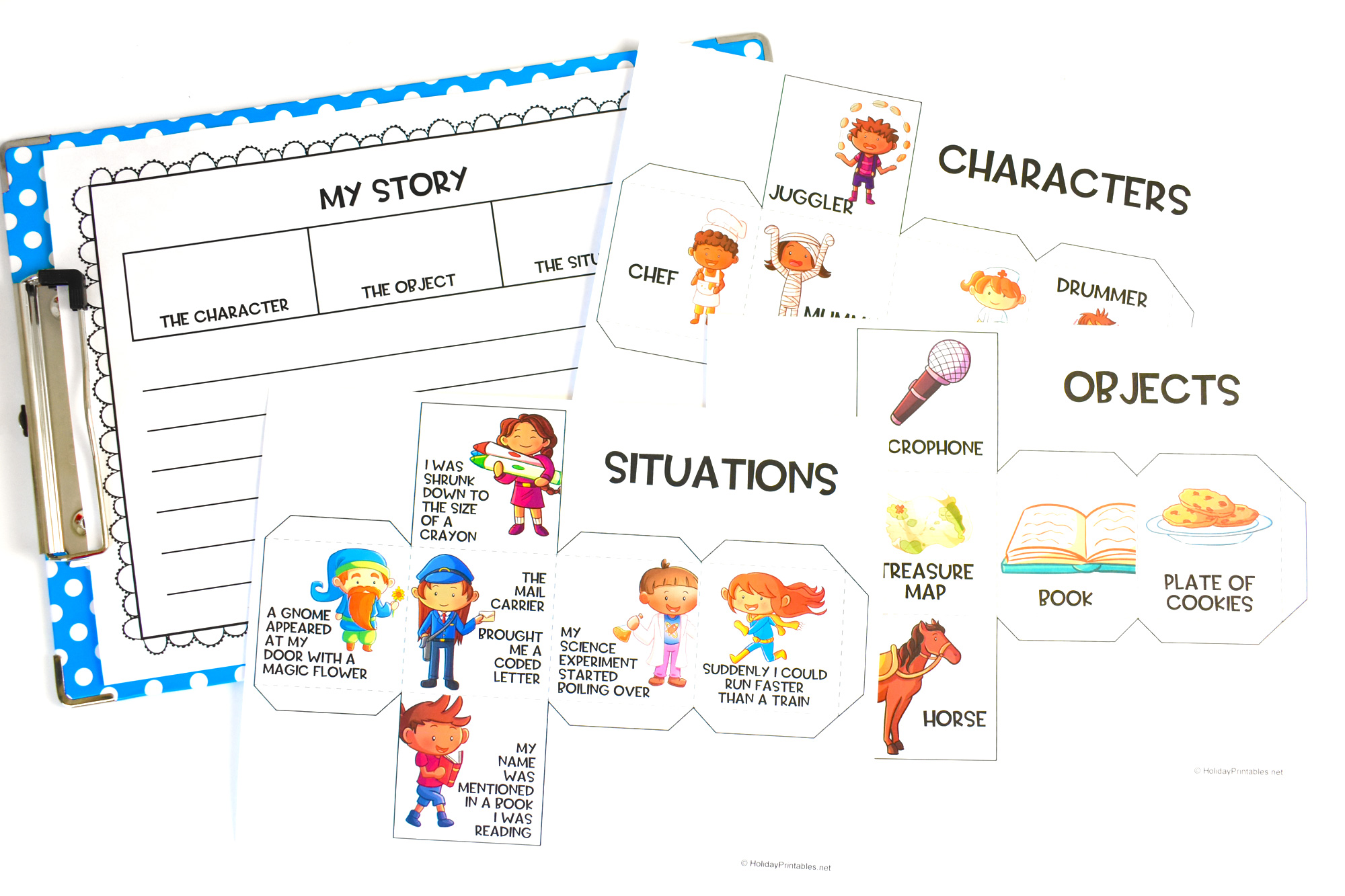Use these fun storytelling cubes and writing pages as writing prompts to help your children or students learn the fun of storytelling. #printablepages #homeschoolprintables #printablesforkids #printables #holidayprintables #weloveprintables