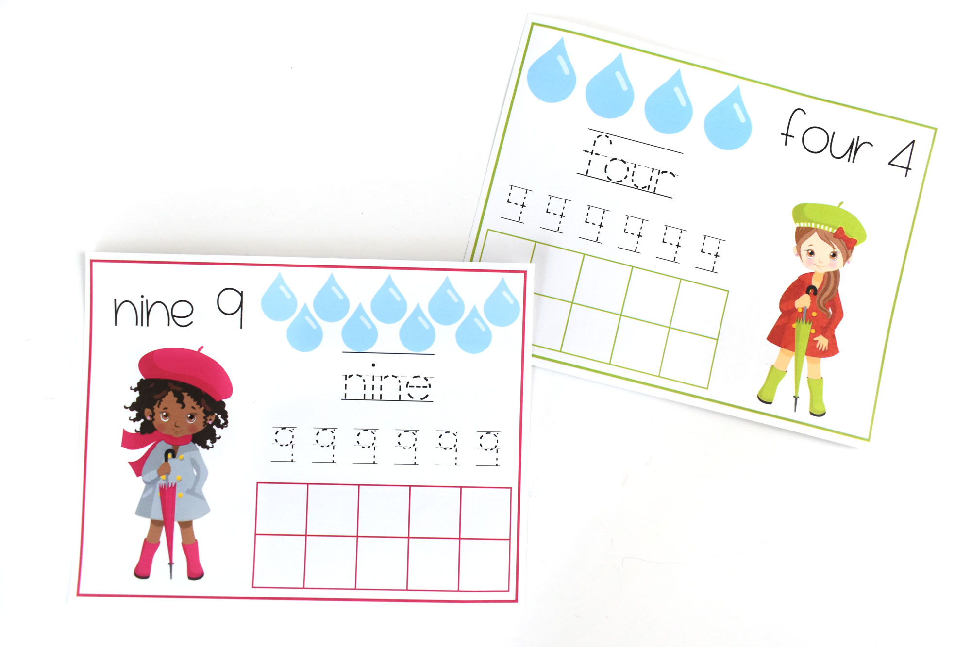 Spring Counting Raindrops Printable Pages for Kids | HolidayPrintables.net #printables #holidayprintables #springpritnables #countingpages #math #preschoolprintables #educationprintables #homeschoolprintables #weloveprintables