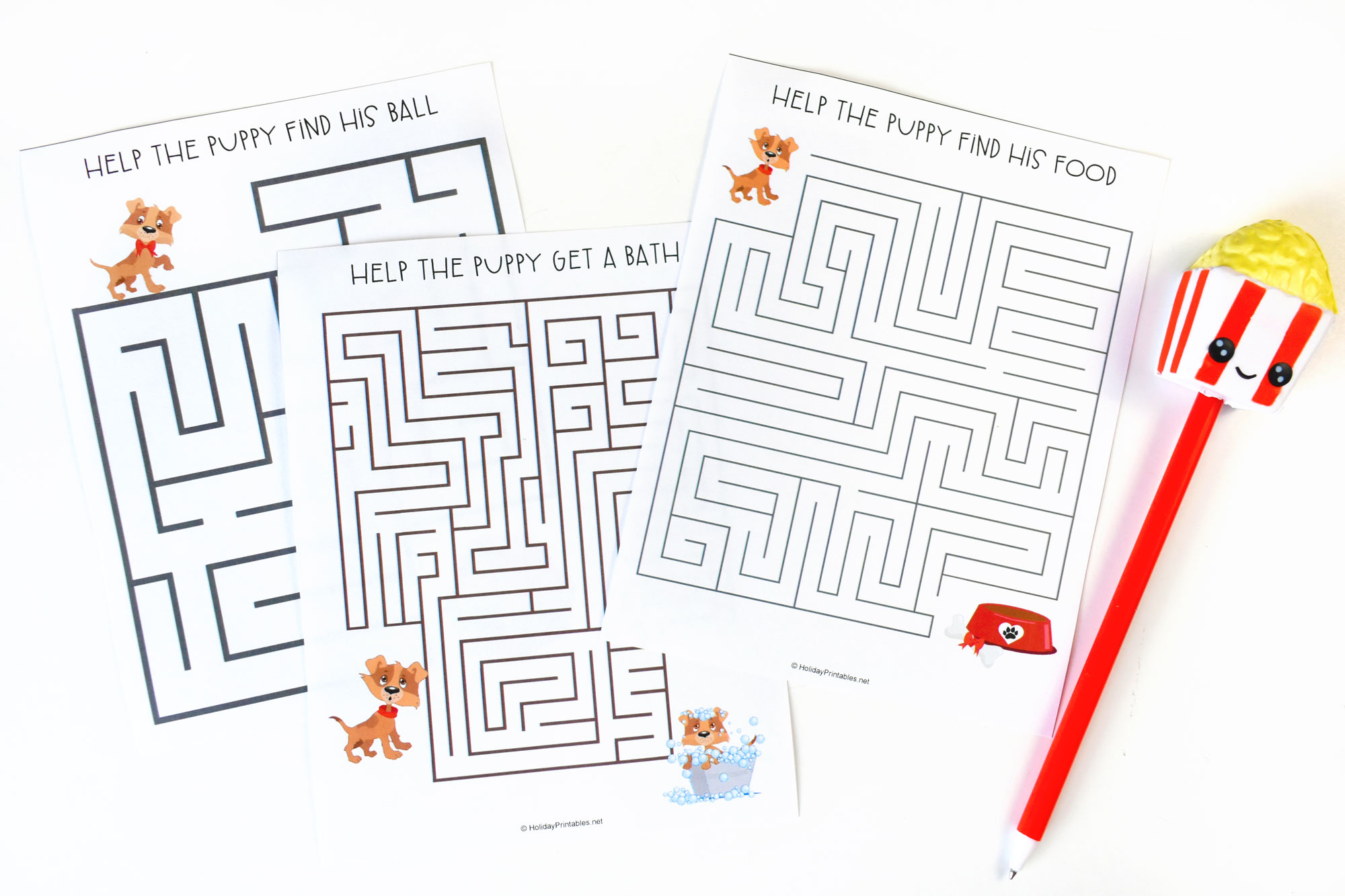 Puppy Mazes Printable Pages for Naitional Puppy Day | HolidayPrintables.net #puppies #nationalpuppyday #printables #homeschoolprintable #printablesforkids #holidayprintables #weloveprintables