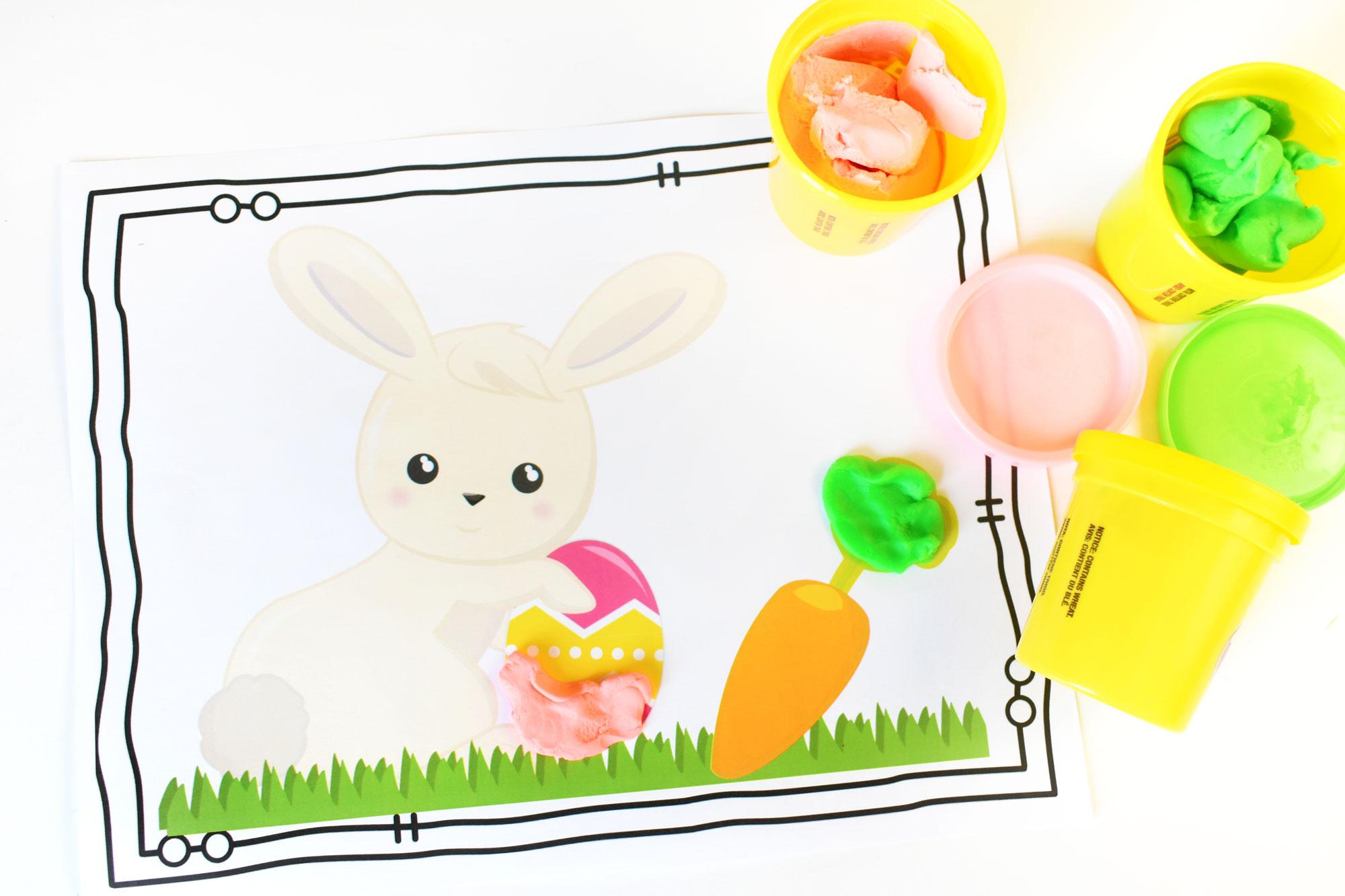 Easter Play Dough Mat Free Printable | HolidayPrintables.net #printables #easter #holidayprintables #educationprintables