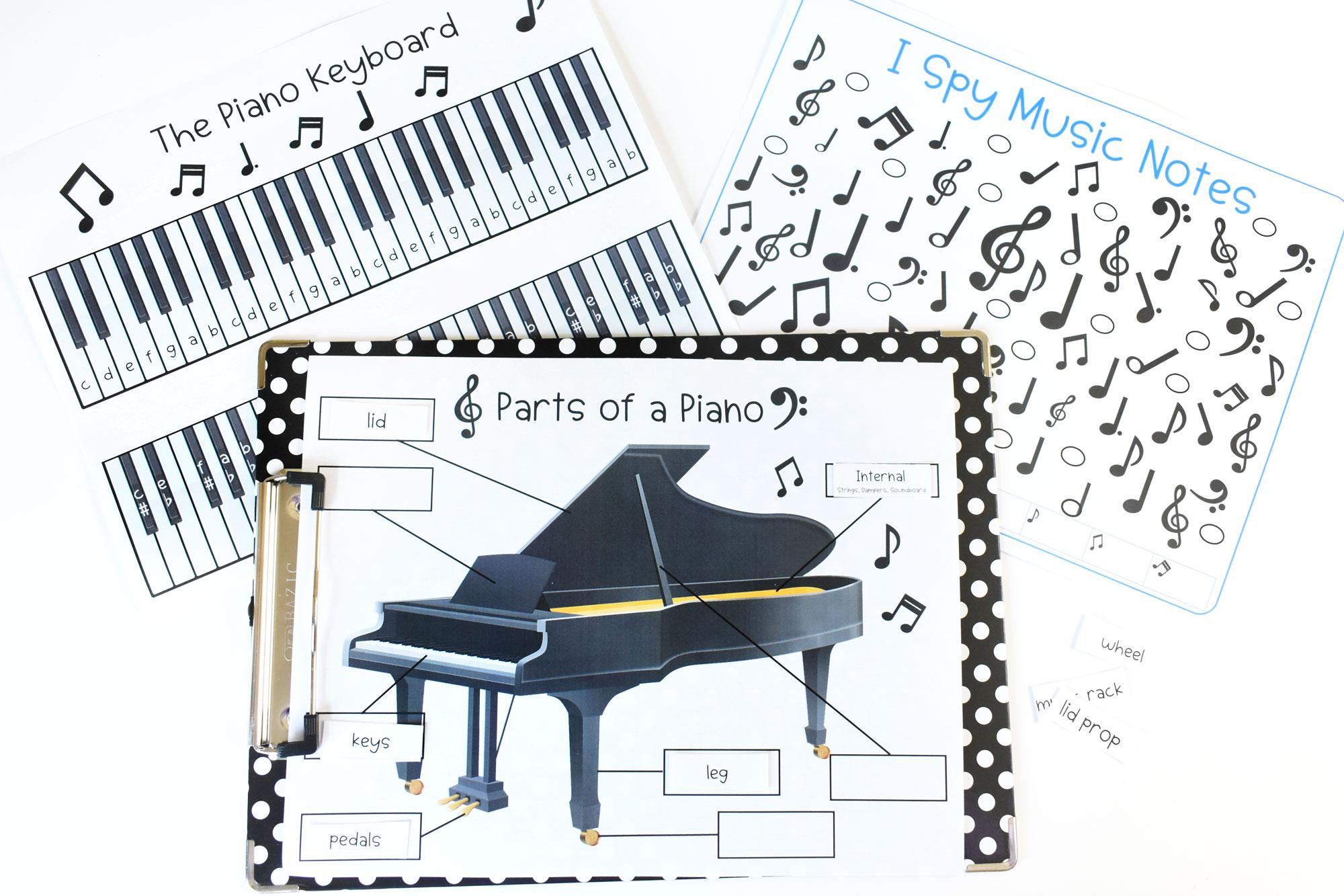 Piano Music Printable Bundle for Kids | HolidayPrintables.net #music #piano #pianoday #printables #homeschoolprintables #printablesforkids #musicprintables #holidayprintables #weloveprintables #educationprintables