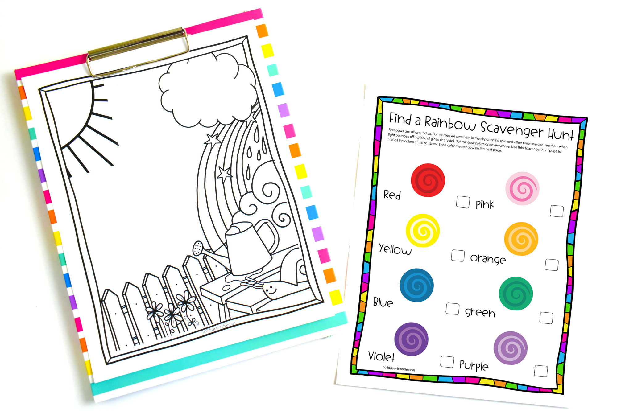 Rainbow Colors Scavenger Hunt | HolidayPrintables.net #printables #rainbows #findarainbow #scavengerhunt #printablegames #weloveprintables #holidayprintables