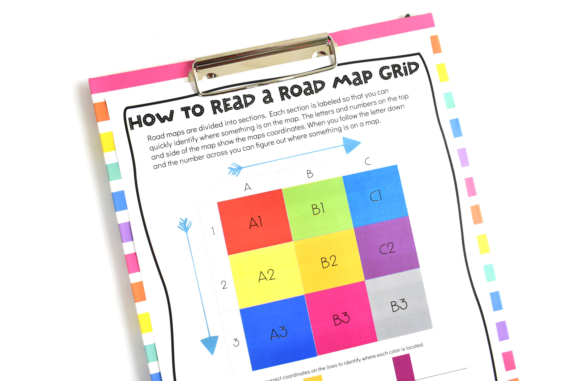 How to Read a Road Map Free Printable | HolidayPrintables.net #printables #roadmaps #geography #educationprintables #freeprintables #homeschoolprintables #weloveprintables #holidayprintables #stem