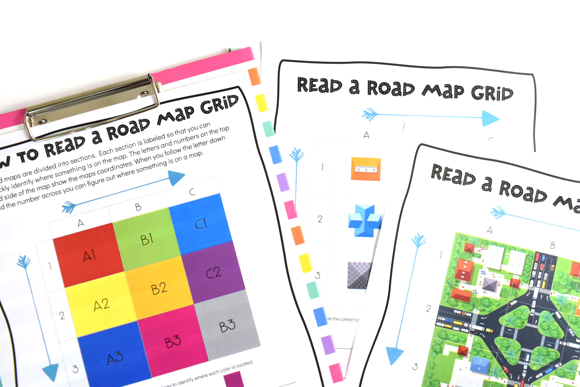 How to Read a Road Map Printable Set | HolidayPrintables.net #printables #roadmaps #geography #educationprintables #freeprintables #homeschoolprintables #weloveprintables #holidayprintables #stem
