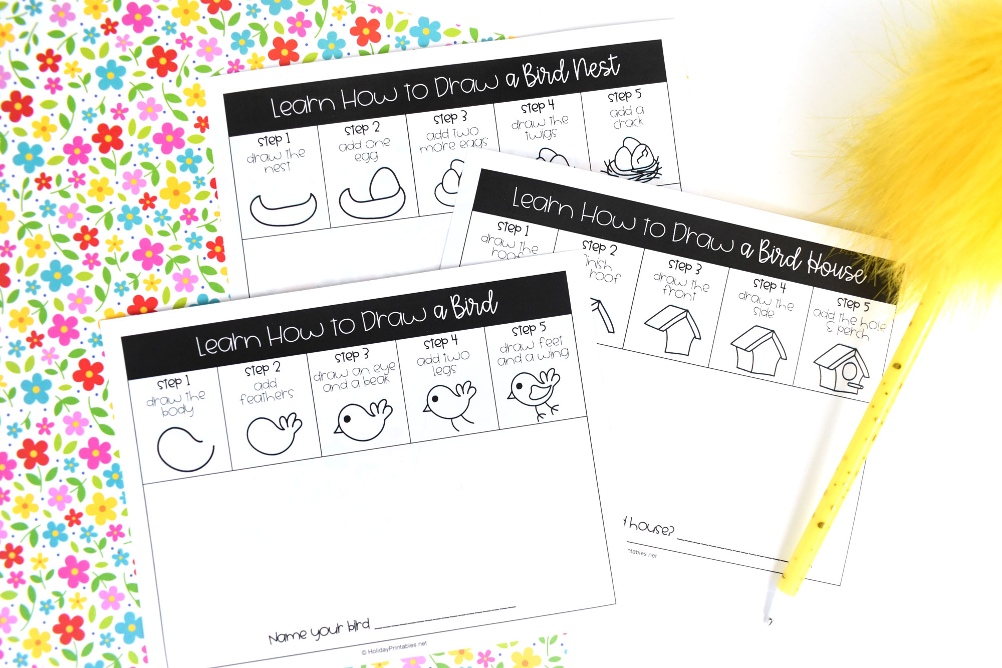 How to Draw A Bird Self Directed Drawing Pages for Kids | HolidayPrintables.net #printables #holidayprintables #springprintables #howtodraw #animaldrawings #drawabird #homeschoolprintables #educationprintables #weloveprintables