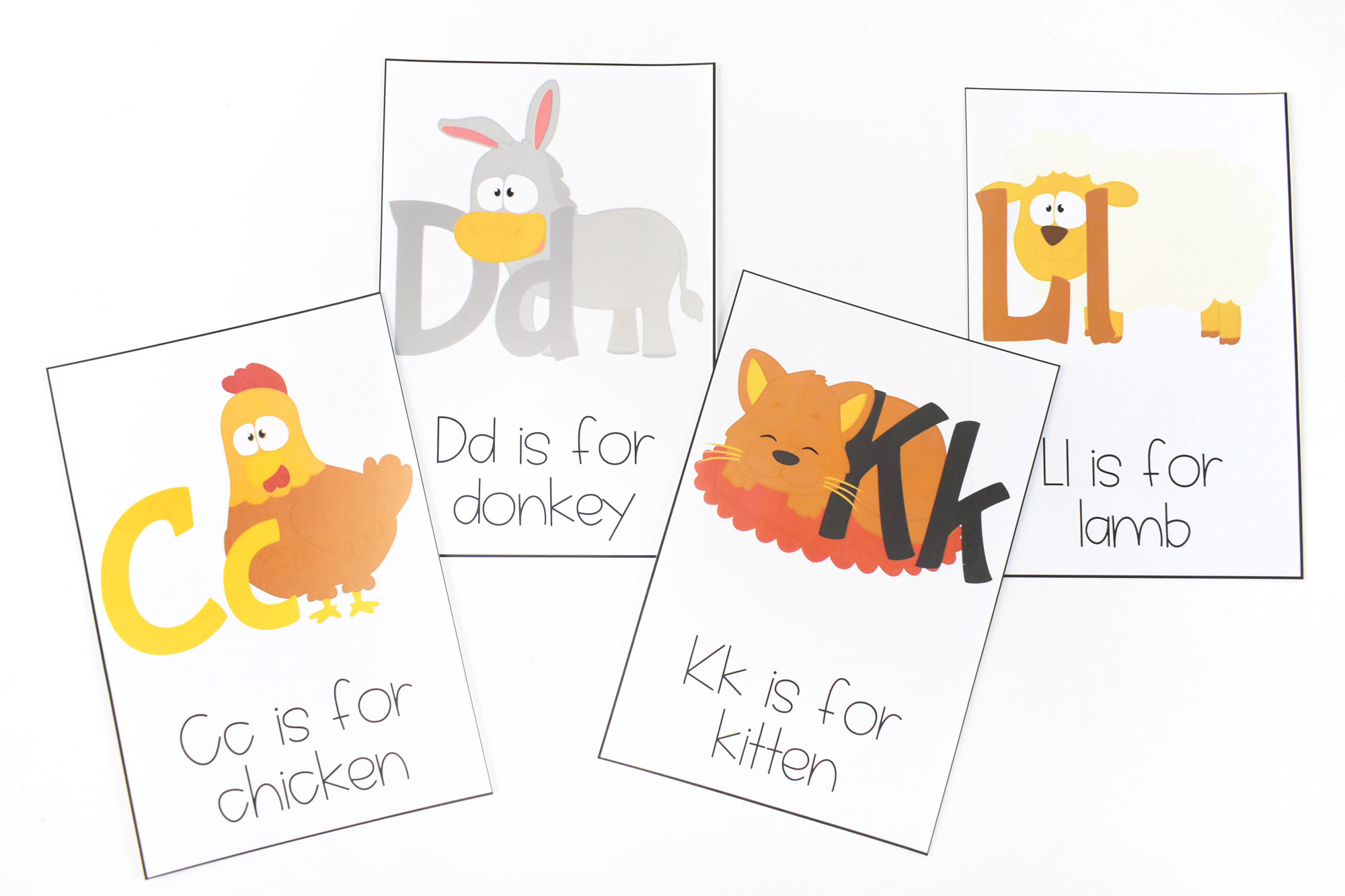 Farm Themed ABC printable flashcards | HolidayPrintables.net #farms #abcprintables #printablesforkids #educationprintables #homeschoolprintables #preschoolprintables #weloveprintables #holidayprintables