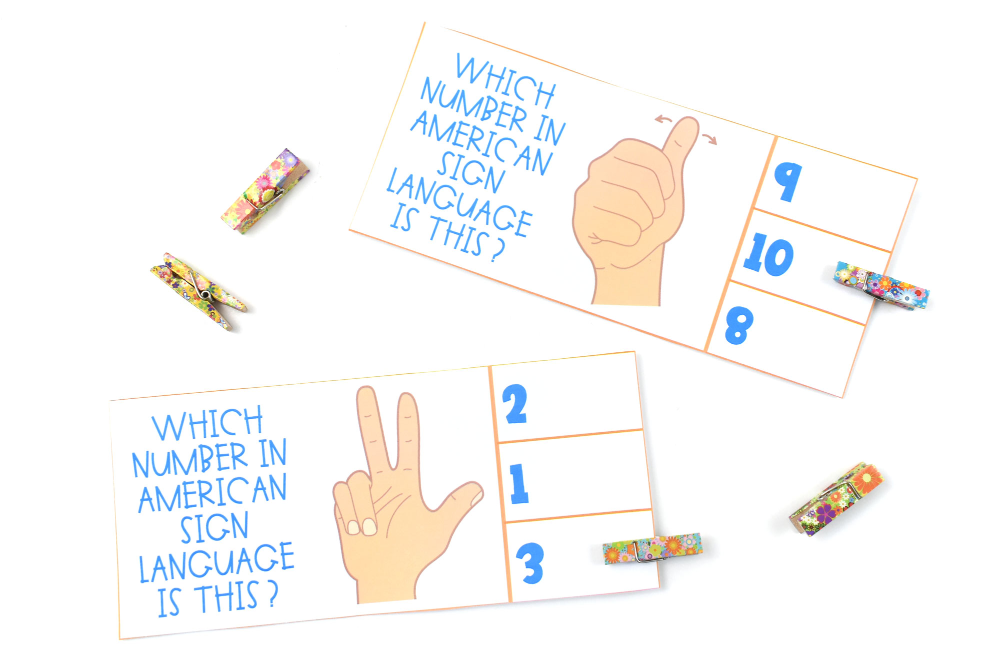 ASL Count & Clip Cards | HolidayPrintables.net
