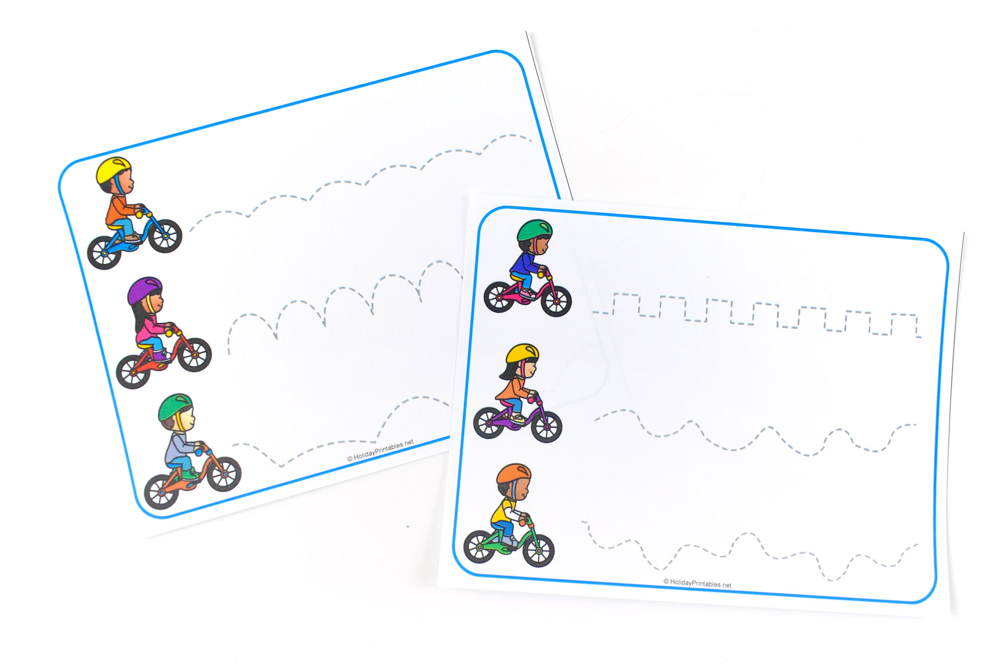 Bicycle themed Tracing Lines Printable | HolidayPrintables.net