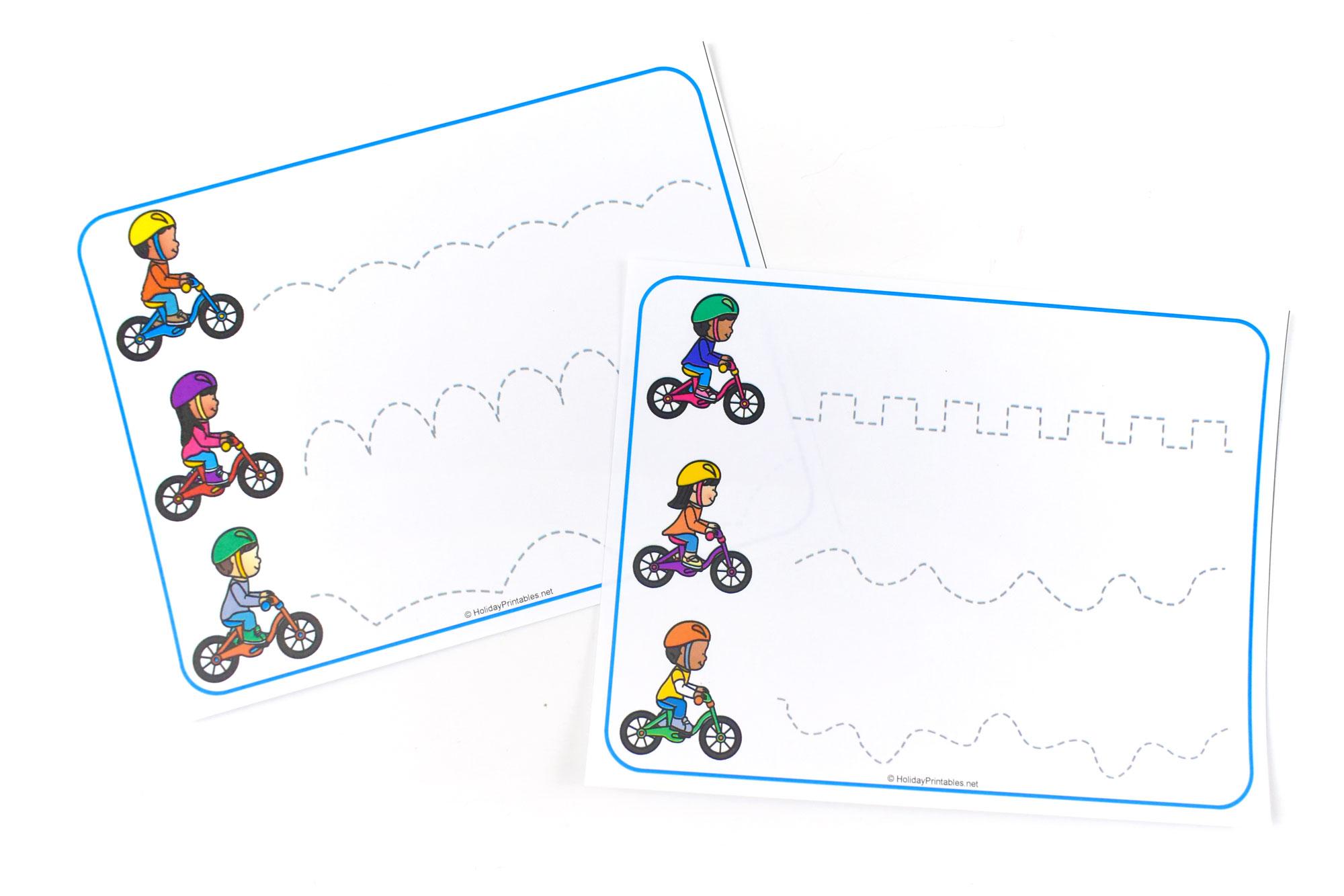 Bicycle themed Tracing Lines Printable | HolidayPrintables.net