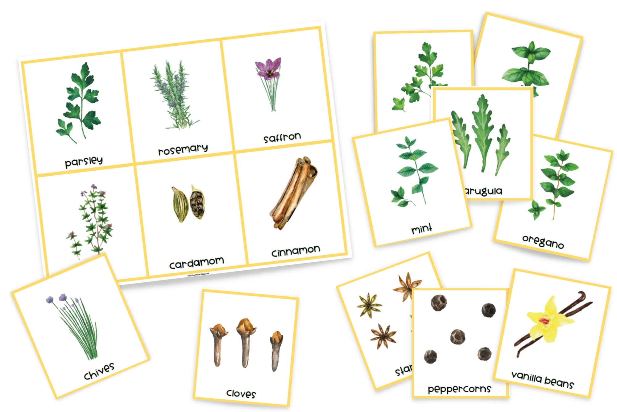 Herbs and Spices Printable Cards | HolidayPrintables.net